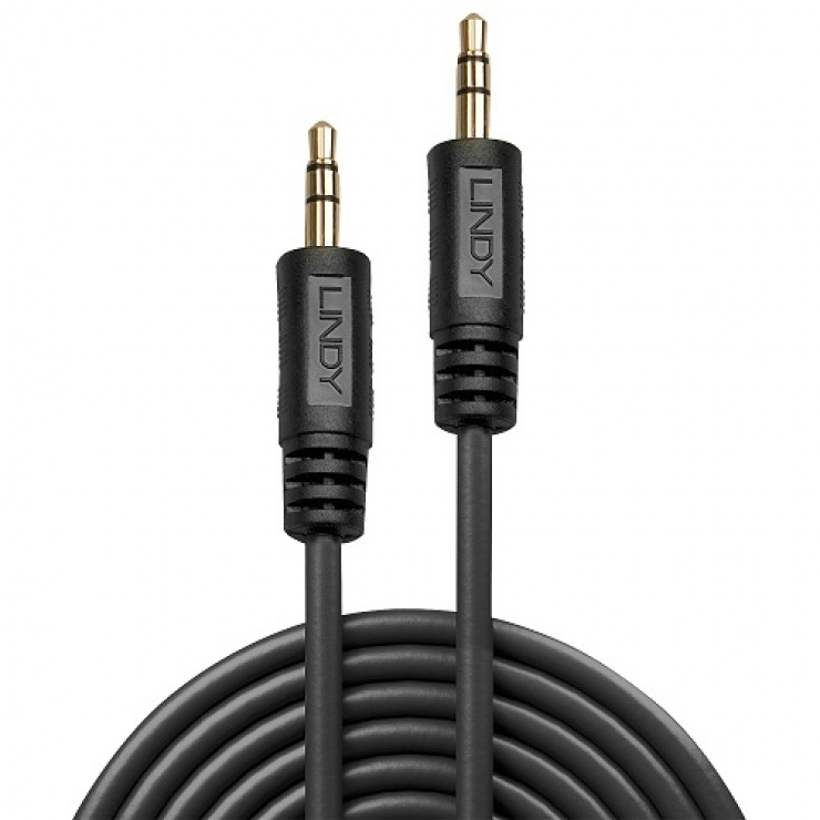 Imagine Cablu audio jack stereo 3.5mm T-T negru 20m Premium, Lindy L35648-1