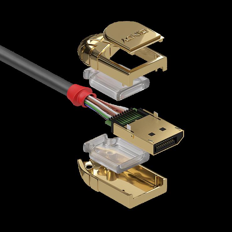 Imagine Cablu Displayport 4K UHD (DP certificat) v1.2 T-T 20m Gold Line, Lindy L36298-2