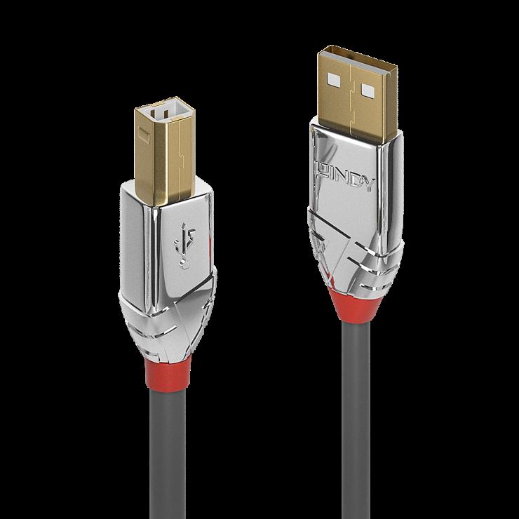 Imagine Cablu USB 2.0 tip A la tip B 1m Cromo Line, Lindy L36641