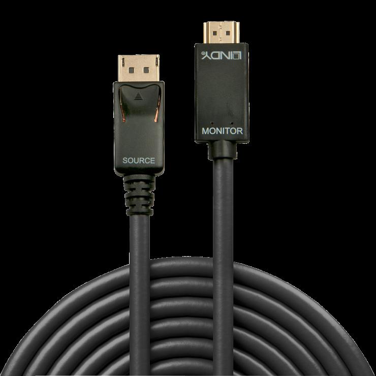 Imagine Cablu Displayport la HDMI 4K 1m T-T Negru, Lindy L36921-1