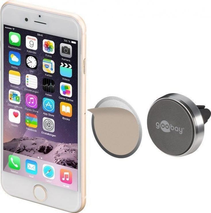 Imagine Suport magnetic auto Slim metalic pentru smartphone (35mm), Goobay 38685-5