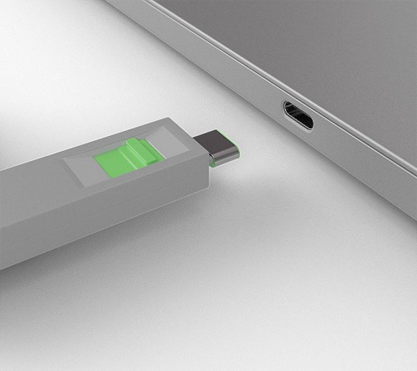 Imagine Set 4 bucati Port Blocker USB tip C/Thunderbolt 3 + cheie Verde, Lindy L40426-2