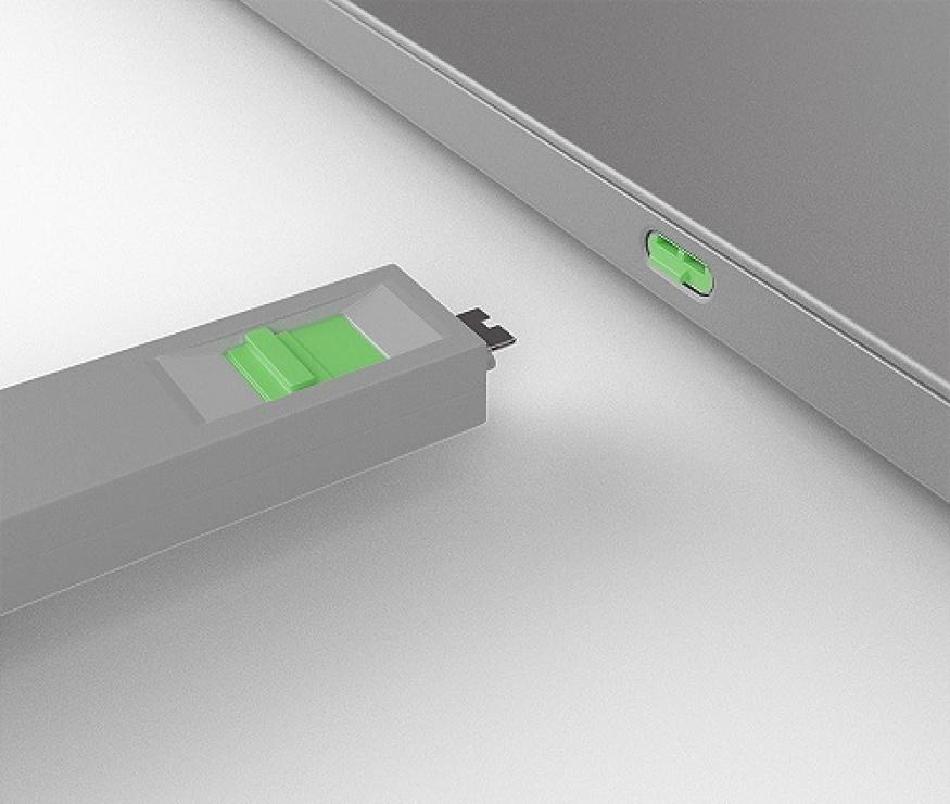 Imagine Set 4 bucati Port Blocker USB tip C/Thunderbolt 3 + cheie Verde, Lindy L40426-3
