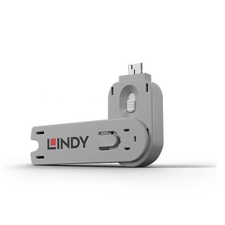 Imagine Cheie pentru blocarea portului USB-A (L40464 & L40454) Alb, Lindy L40624