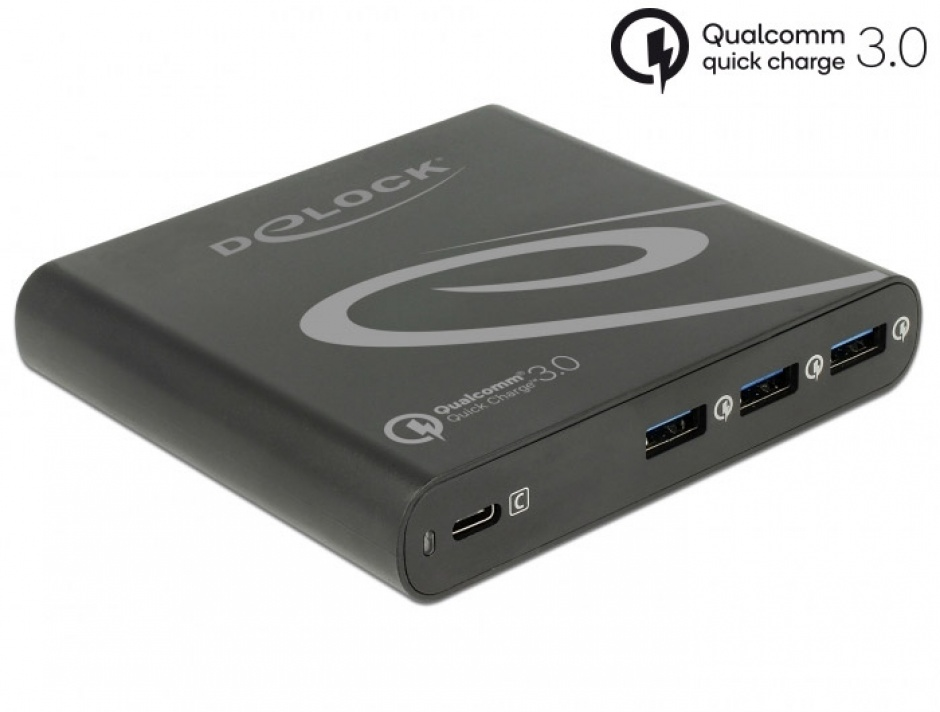 Imagine Incarcator priza la 1 x USB-C PD 85 W + 3 x USB-A Qualcomm Quick Charge 3.0 Negru, Delock 41431
