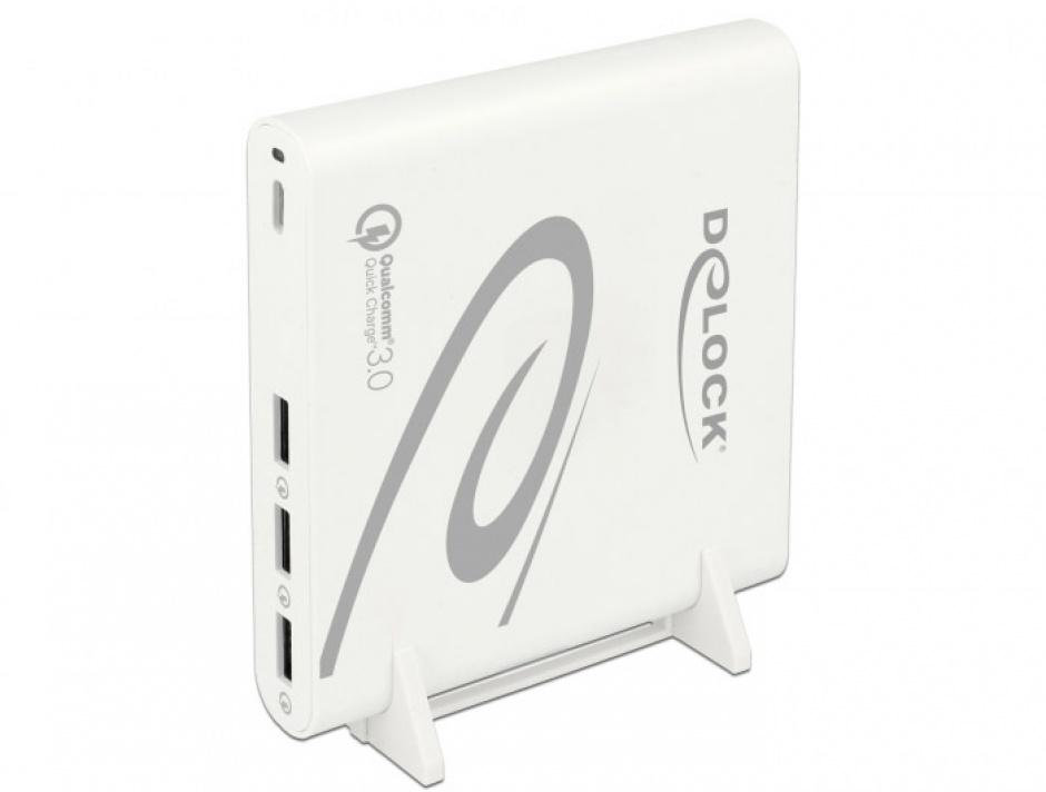 Imagine Incarcator priza la 1 x USB-C PD 85 W + 3 x USB-A Qualcomm Quick Charge 3.0 Alb, Delock 41432-2