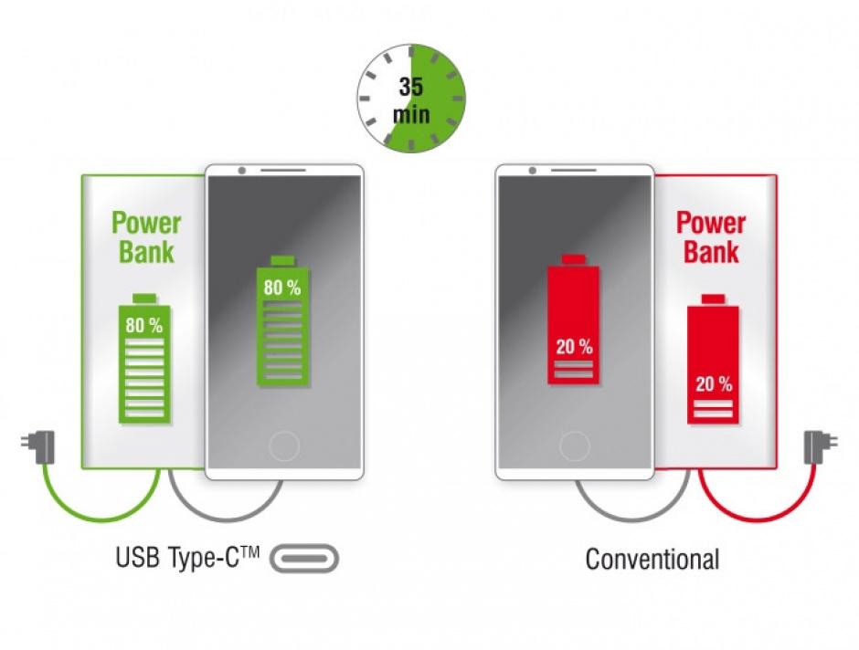 Imagine Baterie externa 5000 mAh 1 x USB-A, 1 x USB-C, Delock 41504-2