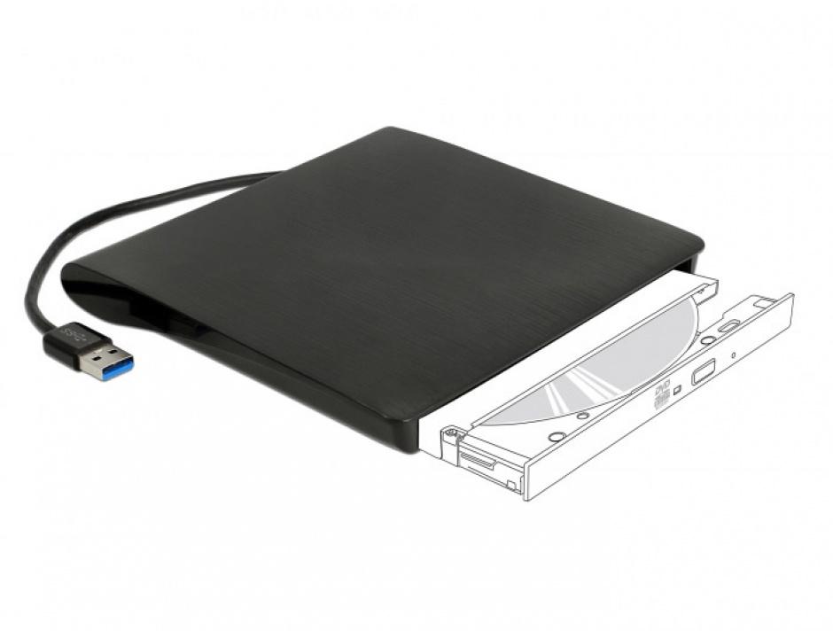 """Imagine Enclosure extern pentru dispozitive 5.25"""" Ultra Slim SATA 9.5 mm la USB-A Negru, Delock 42603"""