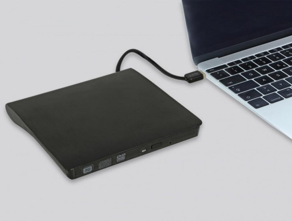 """Imagine Enclosure extern pentru dispozitive 5.25"""" Ultra Slim SATA 9.5 mm la USB-A Negru, Delock 42603-3"""