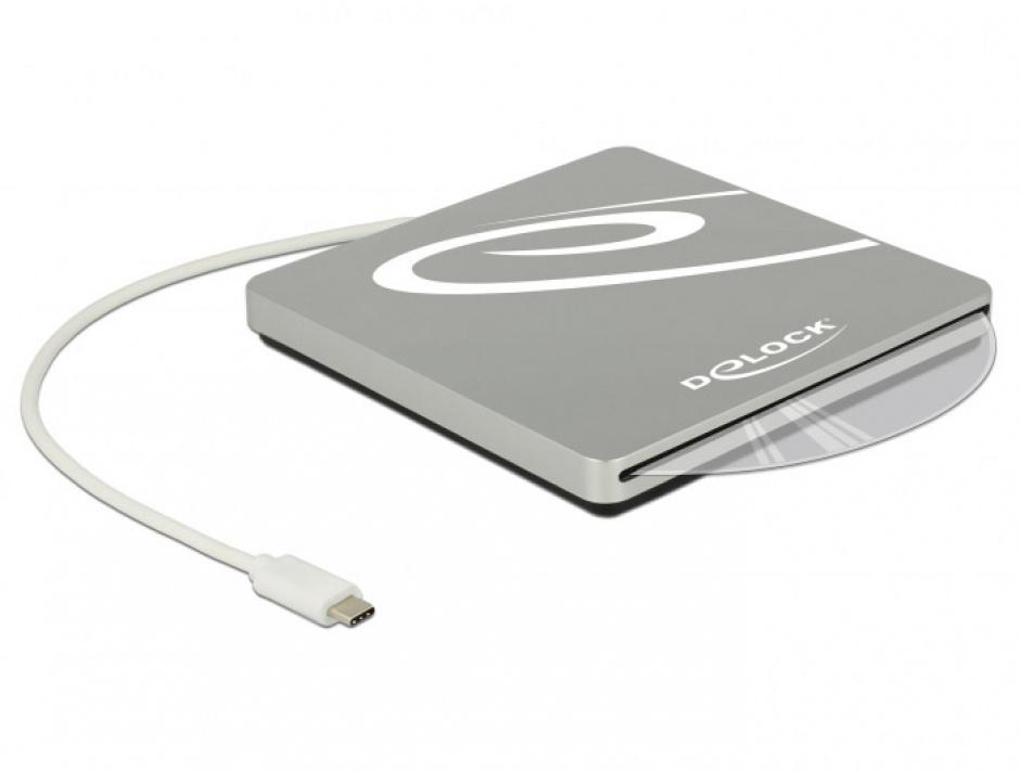 "Imagine Enclosure extern pentru dispozitive 5.25"" Slot-in Slim SATA 9.5 / 12.7 mm la USB-C Silver, Delock 42605"