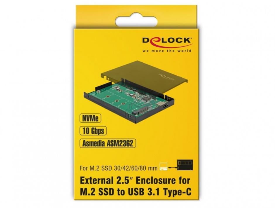 """Imagine Rack extern 2.5"""" pentru M.2 NVMe PCIe SSD la USB-C 3.1 cu protectie EDS, Delock 42609-4"""