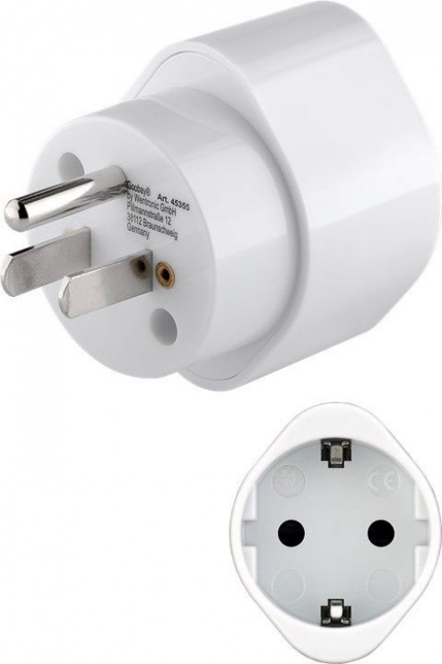 Imagine Adaptor priza Schuko la USA Alb, Goobay 45355