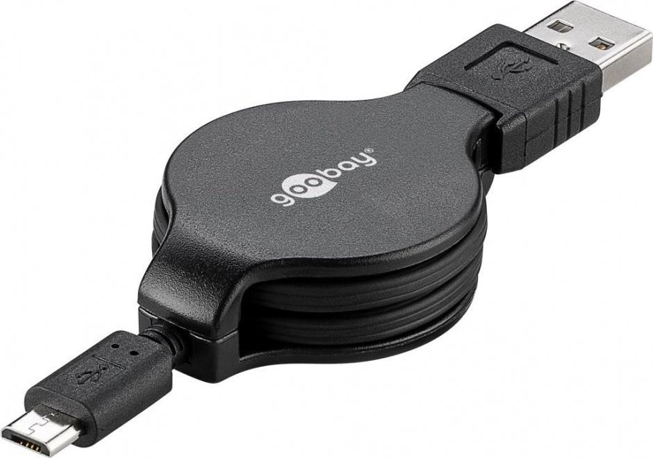 Imagine Cablu micro USB retractabil 1m T-T Negru, Goobay 45879