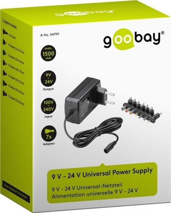 Imagine Incarcator universal 9V-24V/24W/1.5A,  Goobay 54799-1