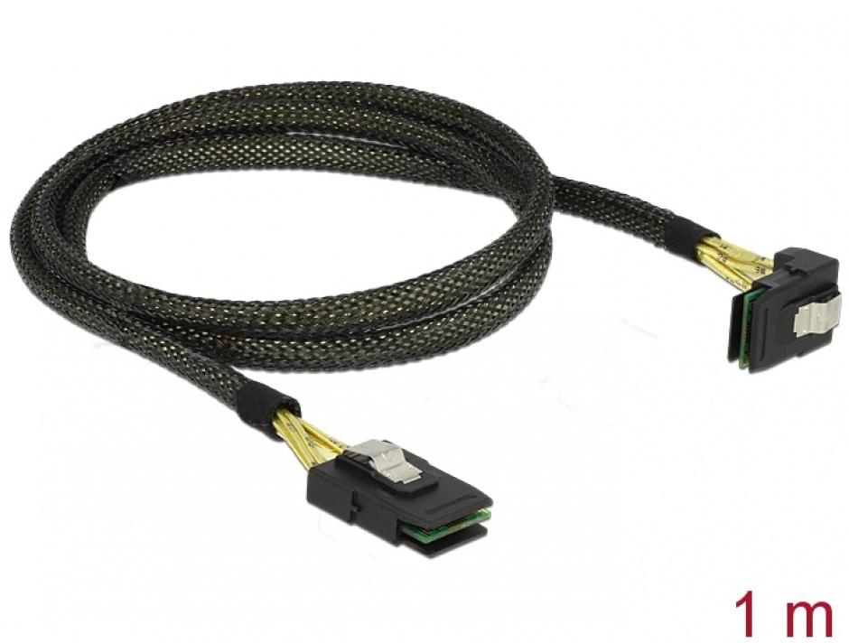 Imagine Cablu Mini SAS SFF-8087 la Mini SAS SFF-8087 unghi 90 grade 1m, Delock 83642-1