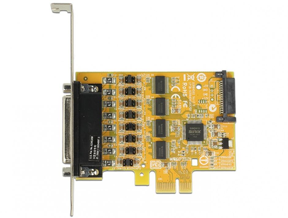 Imagine PCI Express cu 4 x Serial RS232 cu voltage supply, Delock 89447