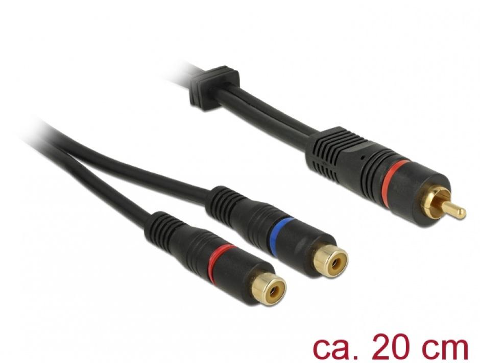 Imagine Cablu 1 x RCA la 2 x RCA T-M 0.2m OFC, Delock 85225