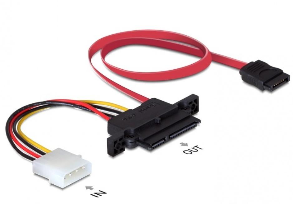 Imagine Cablu Backplane SATA 22pini la 7pini si alimentare 4pini (NSS), Delock 84421