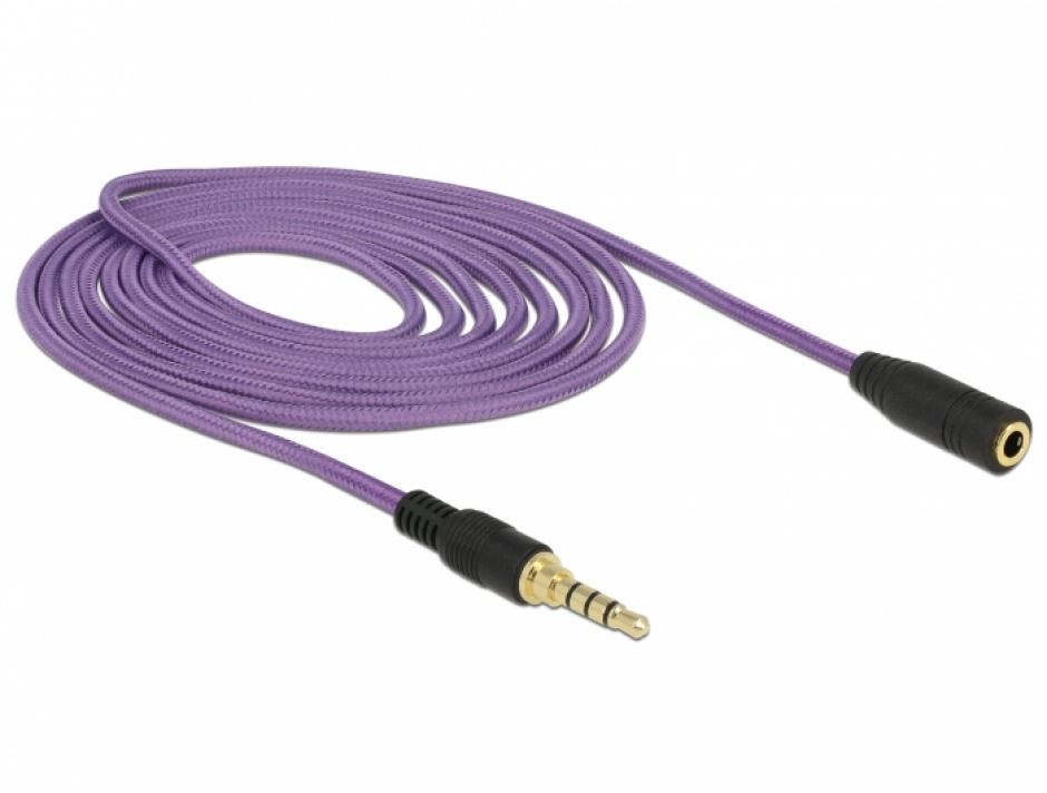 Imagine Cablu prelungitor jack stereo 3.5mm (pentru smartphone cu husa) T-M 4 pini 2m mov, Delock 85624