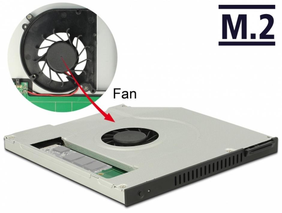 """Imagine  Installation Frame Slim SATA 5.25"""" (10mm) la 1 x M.2 SSD Key B cu ventilator, Delock 63287"""