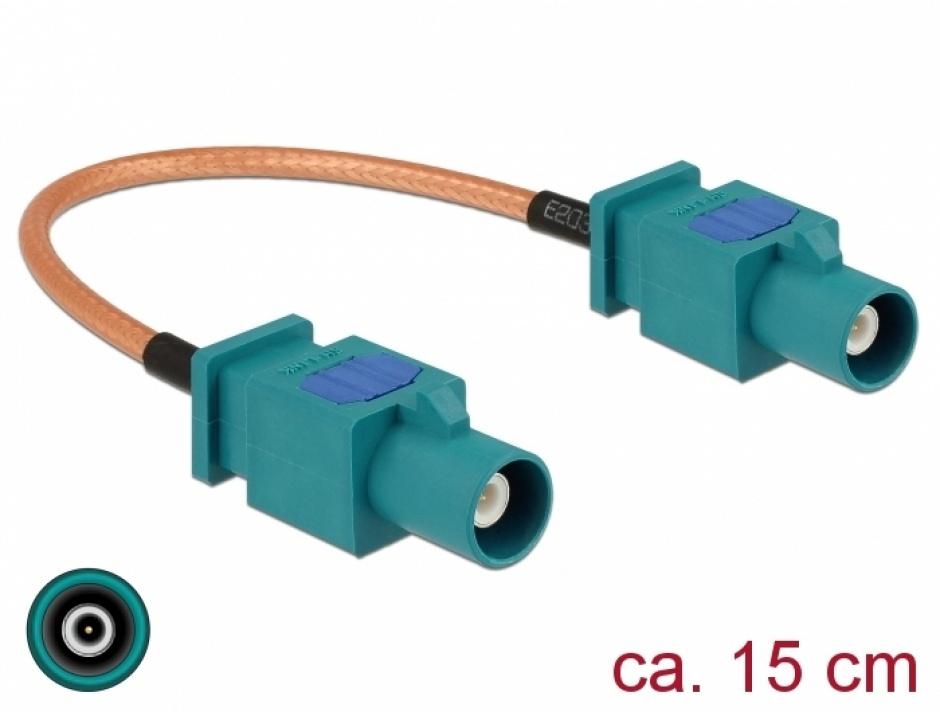 Imagine Cablu antena FAKRA Z plug la FAKRA Z plug RG-316 15cm, Delock 89662