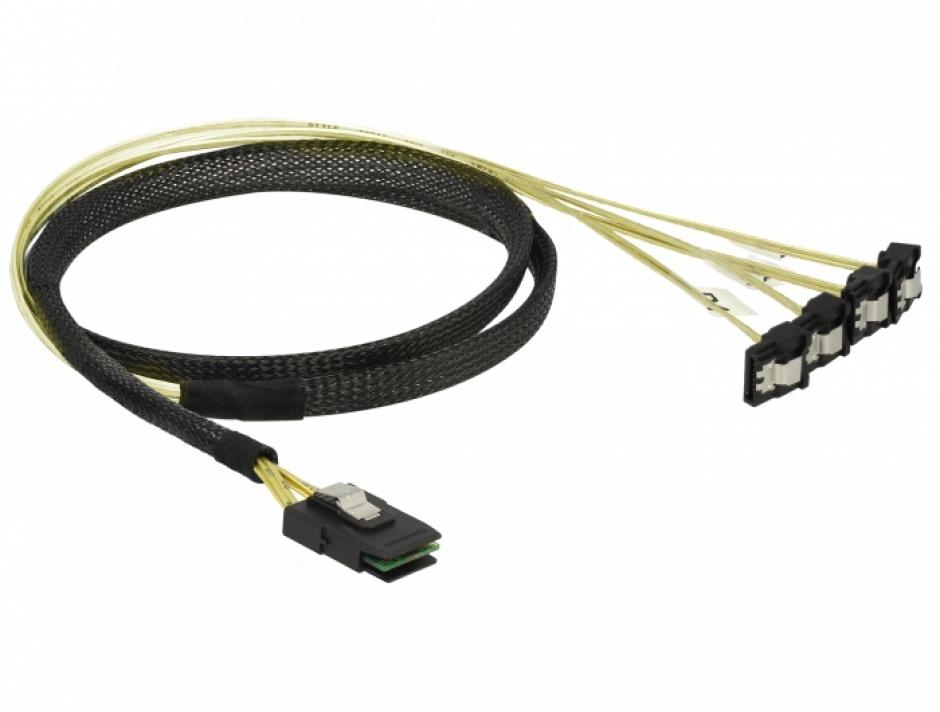 Imagine Cablu Mini SAS SFF-8087 la 4 x SATA unghi 1m, Delock 85687-1