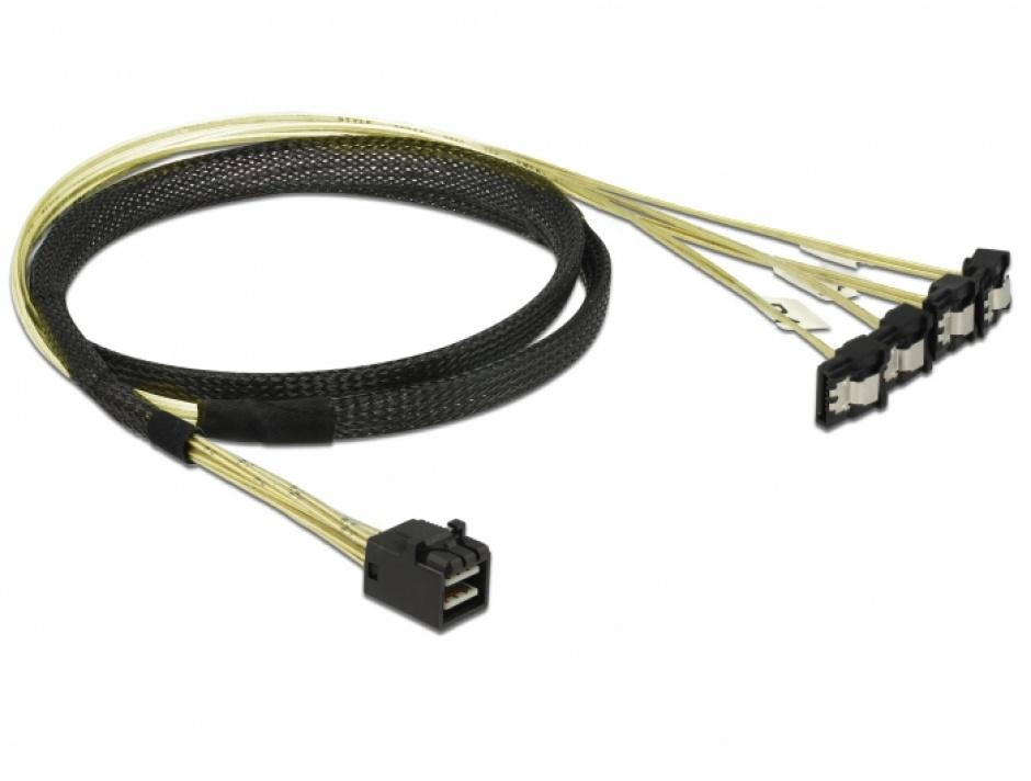 Imagine Cablu Mini SAS HD SFF-8643 la 4 x SATA unghi 1m, Delock 85685-1