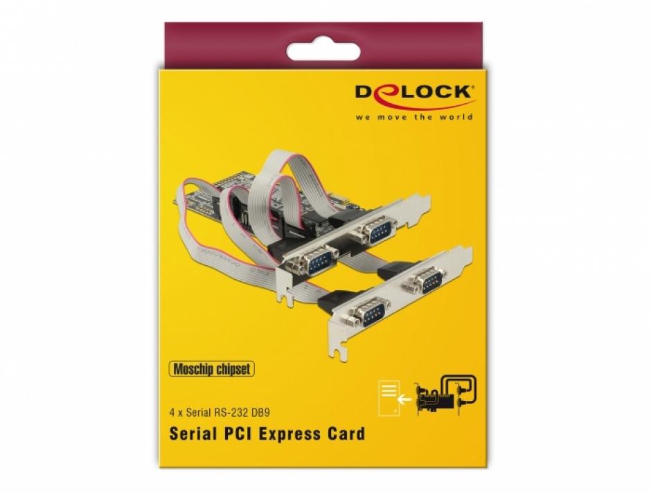 Imagine PCI Express cu 4 x Serial RS232, Delock 89178-4