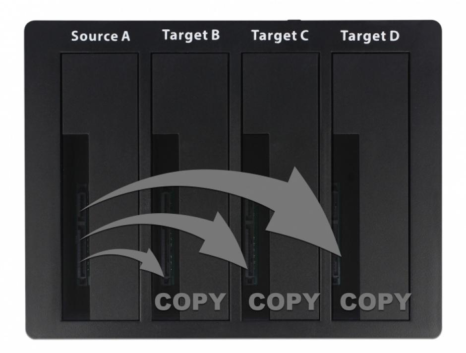 "Imagine Docking Station USB 3.0 pentru 4 x HDD/SSD SATA 2.5""+3.5"" + Functie Clona, Delock 64063-3"