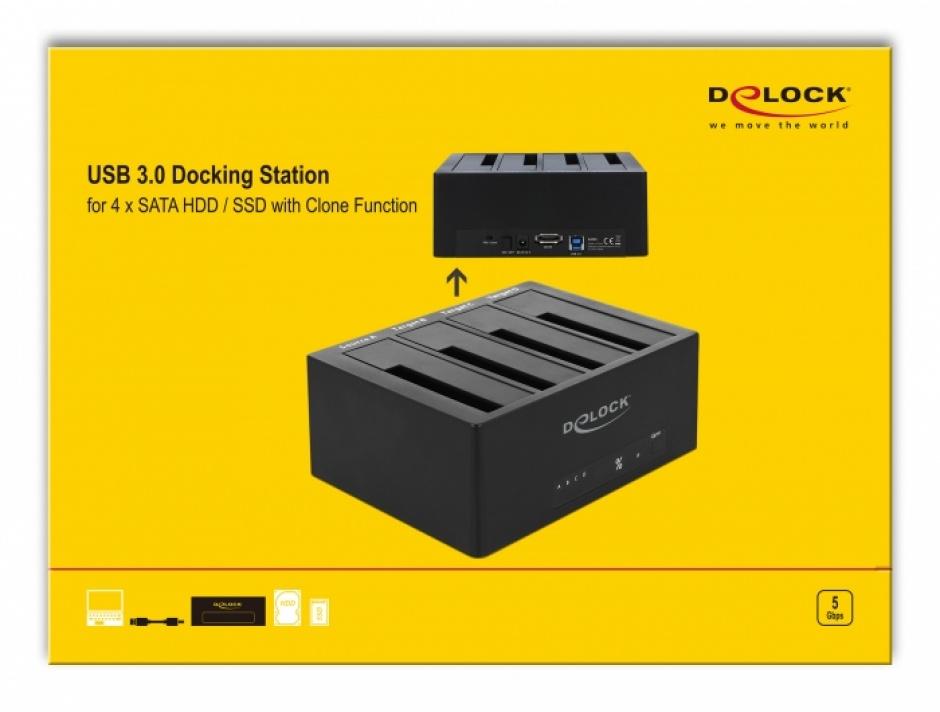"Imagine Docking Station USB 3.0 pentru 4 x HDD/SSD SATA 2.5""+3.5"" + Functie Clona, Delock 64063-7"