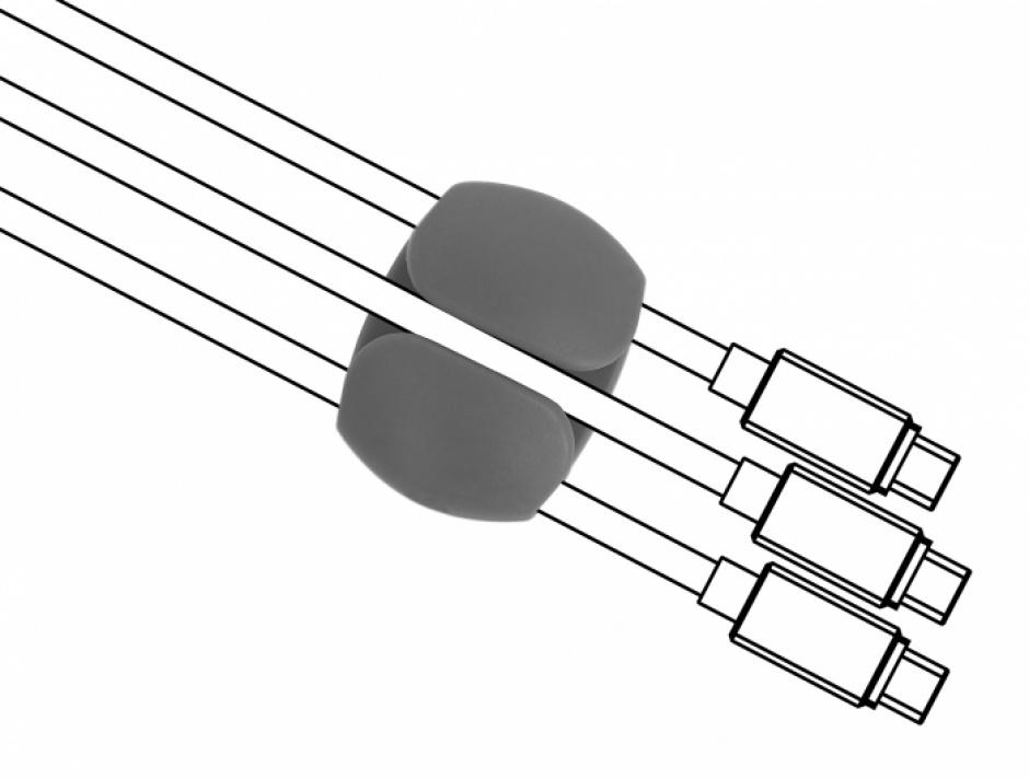 Imagine Set 6 buc clips cablu 2 albe/2 gri/2 negre, Delock 18302-1