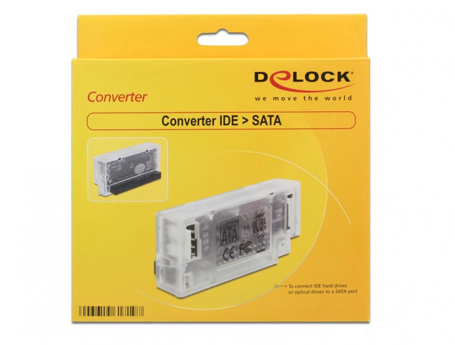 Imagine Convertor IDE 40 pini la SATA unidirectional, Delock 61719-2