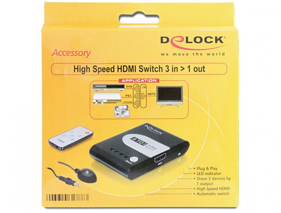 Imagine Switch HDMI Full HD 3 porturi cu telecomanda, Delock 61788-6