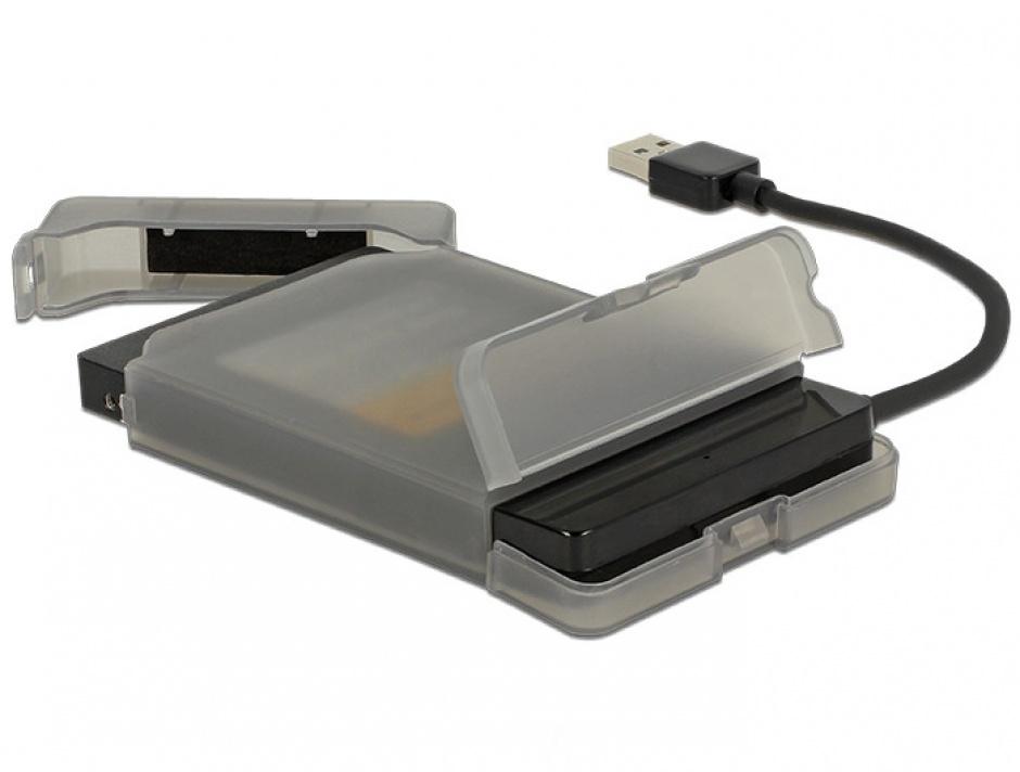 "Imagine Adaptor USB 3.0 la SATA III pentru HDD 2.5"" cu carcasa protectie 15cm, Delock 62742-4"
