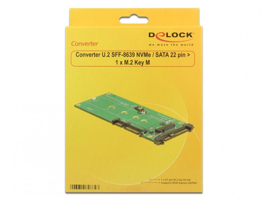 Imagine Convertor U.2 SFF-8639 NVMe / SATA 22 pini la 1 x M.2 Key M, Delock 62864-3