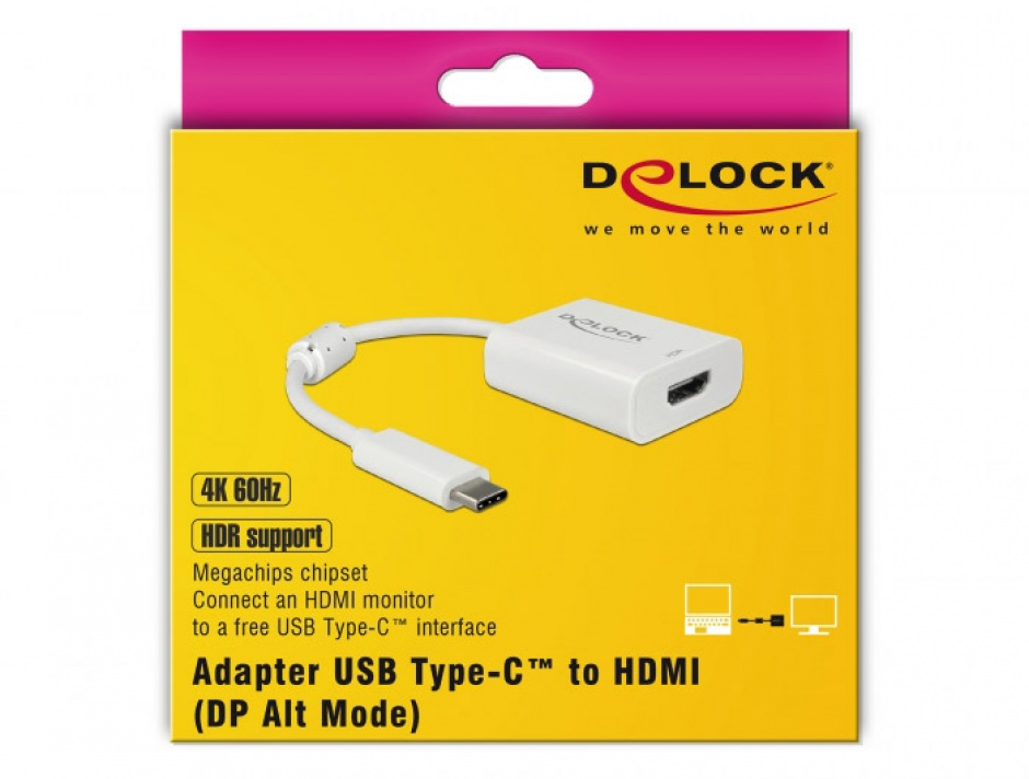Imagine Adaptor USB tip C la HDMI (DP Alt Mode) 4K 60Hz cu HDR T-M Alb, Delock 63937