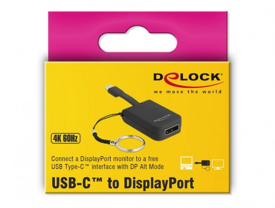 Imagine Adaptor USB-C la DisplayPort (DP Alt Mode) 4K 60Hz pentru breloc, Delock 63940-2