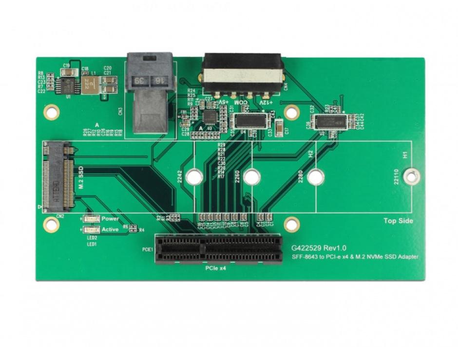Imagine Adaptor U.2 SFF-8643 la PCIe/M.2 Key M slot, Delock 63952-2