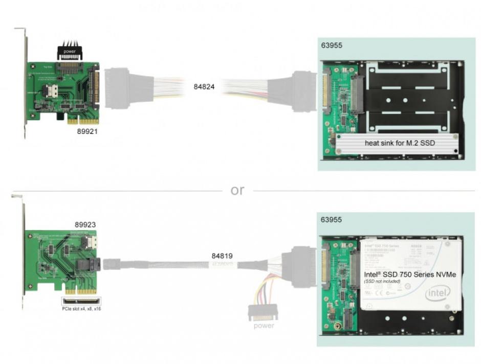 """Imagine Convertor U.2 SFF-8639 la M.2 NVMe Key M / U.2 SFF-8639 cu frame 3.5"""", Delock 63955-2"""
