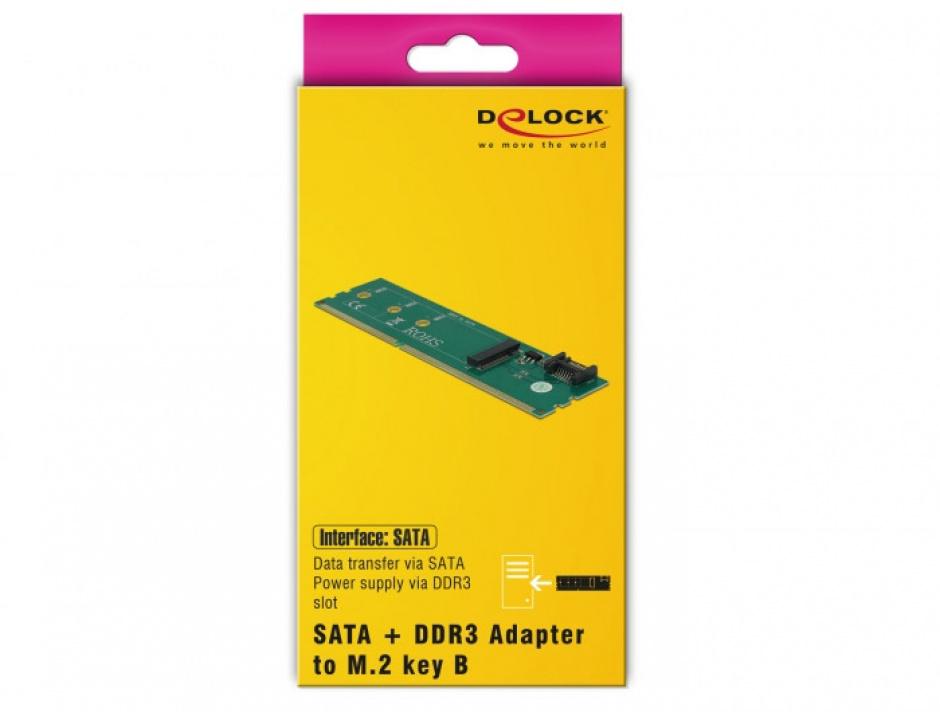 Imagine Adaptor SATA + DDR3 la M.2 key B, Delock 63960-4