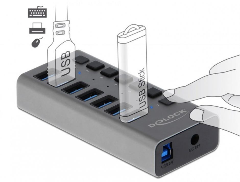 Imagine HUB cu 7 porturi USB 3.0 + switch ON/OFF Negru, Delock 63975-1