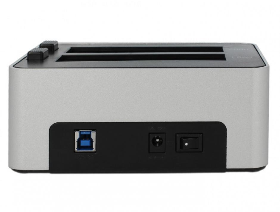 Imagine Dual Docking Station 2 x SATA HDD / SSD la USB 3.0 functie de Clona carcasa metalica, Delock 63991-2