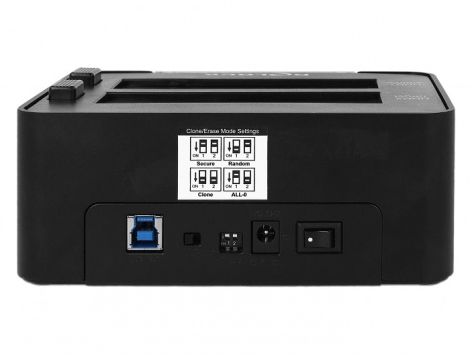 Imagine Docking Station Dual USB 3.0 pentru 2 x SATA HDD/SSD functie de Clona/Erase metalic, Delock 63992-5