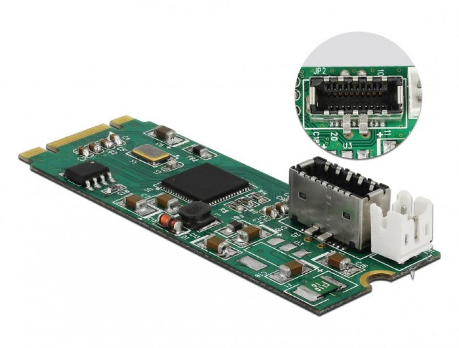 Imagine Convertor M.2 Key B+M la un port USB 3.1 Gen2 key A 20 pini, Delock 63998-2