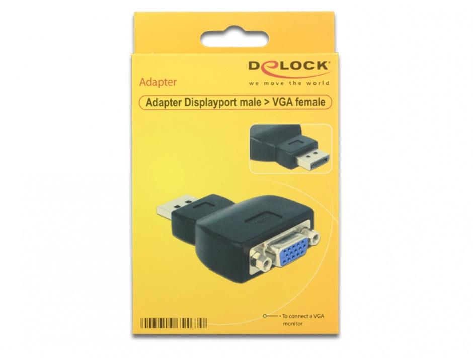 Imagine Adaptor Displayport la VGA T-M Negru, Delock 65567-1