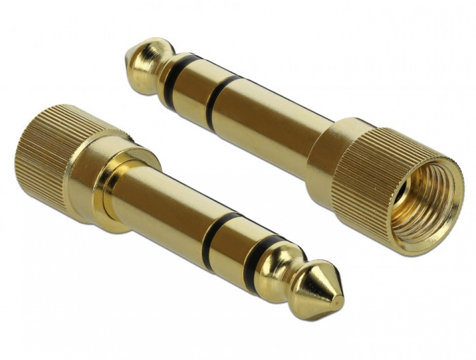 Imagine Adaptor insurubabil stereo 6.35 mm la jack stereo 3.5 mm 3 pini T-M, Delock 65983