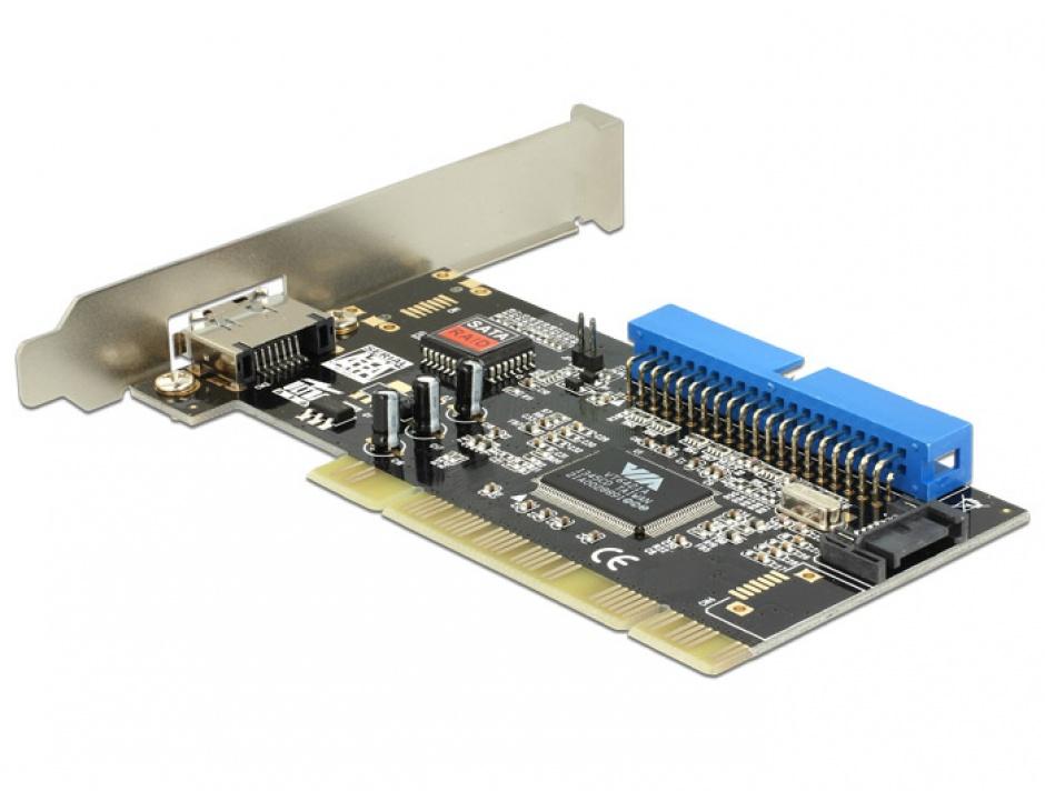 Imagine Placa PCI la 1 x eSATA, 1 x SATA, 1 x IDE, Delock 70156-1