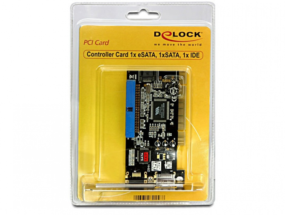 Imagine Placa PCI la 1 x eSATA, 1 x SATA, 1 x IDE, Delock 70156-2