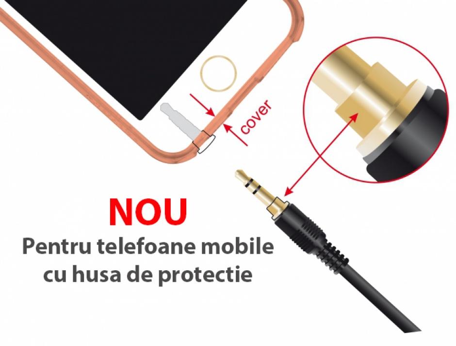 Imagine Cablu Stereo Jack 3.5 mm 3 pini (pentru smartphone cu husa) unghi 3m T-T Negru, Delock 85570-2