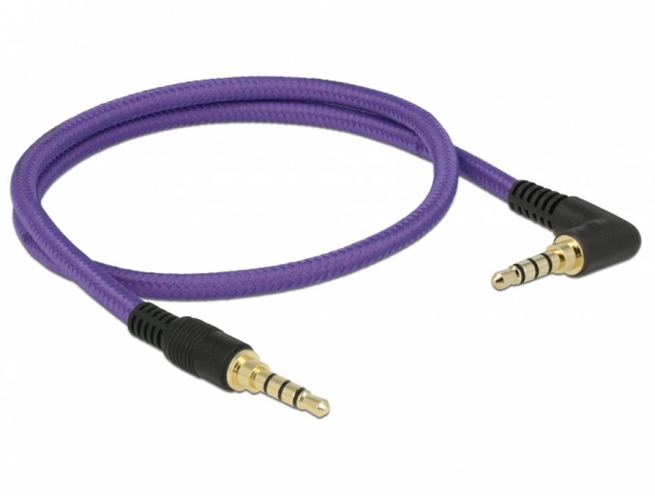 Imagine Cablu stereo jack 3.5mm 4 pini (pentru smartphone cu husa) unghi Mov T-T 0.5m, Delock 85608-1